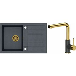 Quadron Morgan 111 1.0 Bowl Granite Kitchen Sink + Angelina Pull Out Kitchen Mixer Tap Black Gold Set