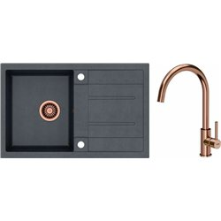 Quadron Morgan 111 1.0 Bowl Granite Kitchen Sink + Jodie Slim Single Lever Kitchen Mixer Tap Black Copper Set