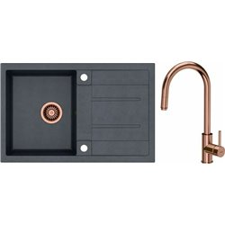 Quadron Morgan 111 1.0 Bowl Granite Kitchen Sink + Jennifer Pull Out Kitchen Mixer Tap Black Copper Set