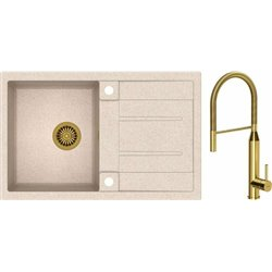 Quadron Morgan 111 1.0 Bowl Granite Kitchen Sink + Marylin Pull Out Kitchen Mixer Tap Beige Gold Set