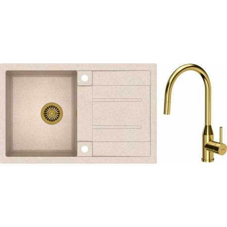 Quadron Morgan 111 1.0 Bowl Granite Kitchen Sink + Audrey Pull Out Kitchen Mixer Tap Beige Gold Set