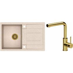 Quadron Morgan 111 1.0 Bowl Granite Kitchen Sink + Angelina Pull Out Kitchen Mixer Tap Beige Gold Set