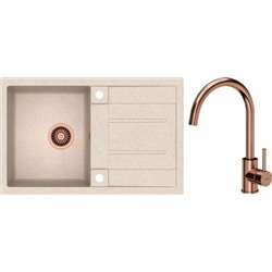 Quadron Morgan 111 1.0 Bowl Granite Kitchen Sink + Ingrid Single Lever Kitchen Mixer Tap Beige Copper Set