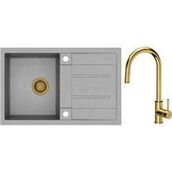 Quadron Morgan 111 1.0 Bowl Granite Kitchen Sink + Jennifer Pull Out Kitchen Mixer Tap Grey Gold Set
