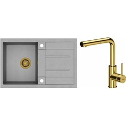 Quadron Morgan 111 1.0 Bowl Granite Kitchen Sink + Angelina Pull Out Kitchen Mixer Tap Grey Gold Set