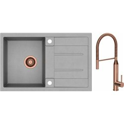 Quadron Morgan 111 1.0 Bowl Granite Kitchen Sink + Marylin Pull Out Kitchen Mixer Tap Grey Copper Set