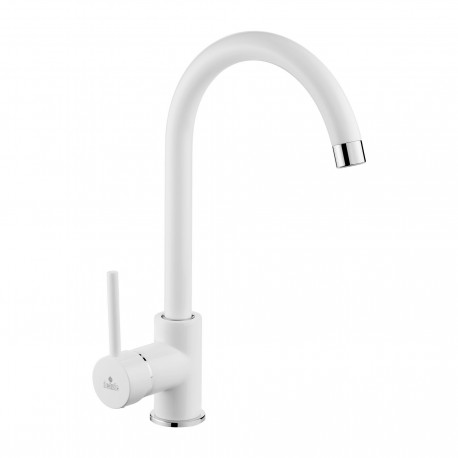 Deante Milin White standing sink mixer with U spout