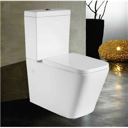 Galaxy Rimless Square Close Coupled Wc Toilet Back To Wall With Soft Close Seat 3in1 Set