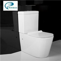 Galaxy Rimless Round Close Coupled Wc Toilet Back To Wall With Slim Soft Close Seat 3in1 Set