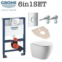 Grohe Rapid Sl 0.82m Wc Frame + Galaxy Bath Rimless Wall Hung Toilet Pan With Slim Soft Close Seat