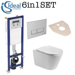 Ideal Standard Concealed Wc Toilet  Frame + Rimless Wall Hung Toilet Pan With Slim Soft Close Seat 6in1 Set