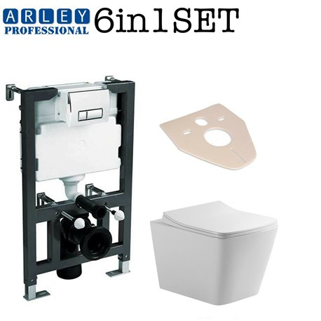 Arley Professional 0.82m Concealed Wc Toilet  Frame + Galaxy Bath Rimless Wall Hung Toilet Pan With Slim Soft Close Seat