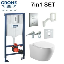 Grohe Rapid Sl Fresh System Wc Concealed Frame + Galaxy Bath Rimless Wall Hung Toilet Pan With Slim Soft Close Seat