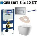 Geberit Duofix Kappa UP200 Cistern Concealed Wc 0.82m Frame + Galaxy Bath Rimless Wall Hung Toilet Pan With Slim Soft Close Seat