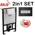 Alca 0.85m Concealed Wc Toilet Cistern Frame + Black Glass/polished Flush Plate