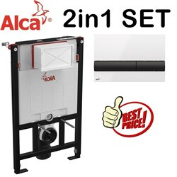 Alca 0.85m Concealed Wc Toilet Cistern Frame With White/Black Flush Plate 2in1