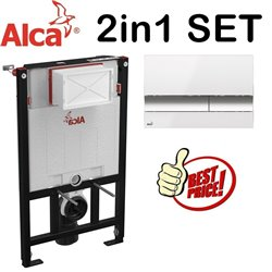 Alca 0.85m Concealed Wc Toilet Cistern Frame With White/Gloss Chrome Flush Plate 2in1