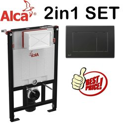 Alca 0.85m Concealed Wc Toilet Cistern Frame With Matt Black Flush Plate 2in1 Set