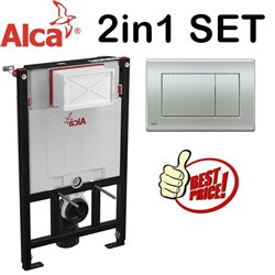 Alca 0.85m Concealed Wc Toilet Cistern Frame With Matt Chrome Flush Plate 2in1 Set