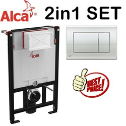 Alca 0.85m Concealed Wc Toilet Cistern Frame With Gloss Chrome Flush Plate 2in1 Set