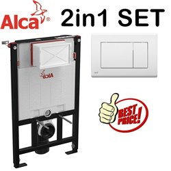 Alca 0.85m Concealed Wc Toilet Cistern Frame With White Flush Plate 2in1 Set