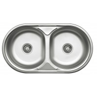 Deante Duet Round double-bowl sink without drainer