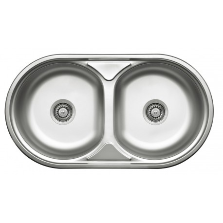 Denate Duet Round double-bowl sink without drainer