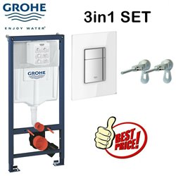 Grohe Rapid Sl Concealed Wc Toilet Cistern Frame With Skate Cosmopolitan Glass Moon White Flush Plate