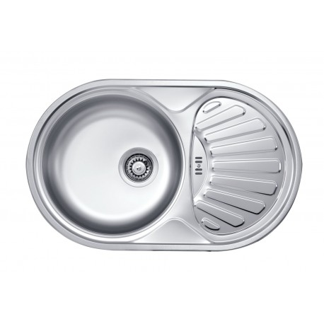Deante Twist 1-bowl round sink with draining board