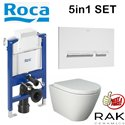 Roca Duplo 0.82m Wc Frame With Rak Resort Rimless Wall Hung Pan And  Soft Close Seat 5in1 Set