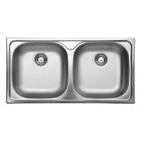 Deante Xylo 2-bowl sink without draining board decor steel