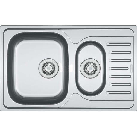 FRANKE POLAR DOUBLE 1.5 BOWL DRAINER & WASTE STAINLESS STEEL SQUARE KITCHEN SINK