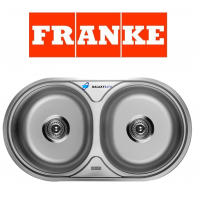 FRANKE ROUND DOUBLE 2.0 BOWL DRAINER & WASTE STAINLESS STEEL KITCHEN SINK INSET
