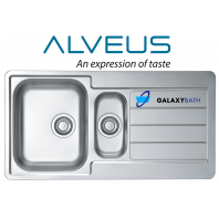 Alveus Line 10 Square Inset 1.5 Bowl Drainer Stainless Steel Linen Kitchen Sink