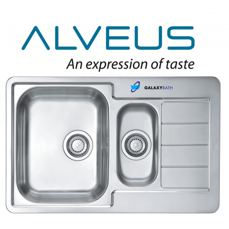 ALVEUS LINE 70 DOUBLE 1.5 BOWL DRAINER STAINLESS STEEL LINEN KITCHEN SINK PLUMBING KIT