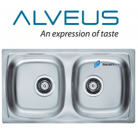 ALVEUS BASIC 160 DOUBLE SQUARE 2.0 BOWL STAINLESS STEEL LINEN KITCHEN SINK & PLUMBING KIT