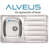 ALVEUS SINGLE 1.0 BOWL DRAINER STAINLESS STEEL LINEN KITCHEN SINK PLUMBING KIT
