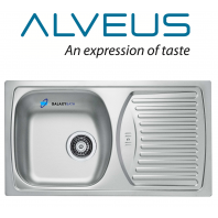 ALVEUS BASIC 150 SINGLE 1.0 BOWL DRAINER STAINLESS STEEL LINEN KITCHEN SINK FULL KIT SET