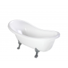 Atena 157 Freestanding Bathtub White Polished Marble