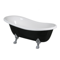 Atena 157 Freestanding Bathtub Black/White Polished Marble