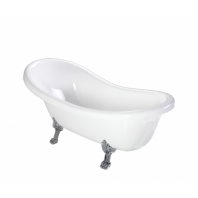 Atena 168 BP Freestanding Bathtub White Polished Marble