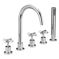 Omnires Modern Bathtub Tap Deck Mounted Five Hole Chrome
