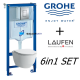 Grohe Wc Frame + Laufen Pro Rimless Wall Hung Toilet Pan With Soft Slim Close Seat 6in1 Set