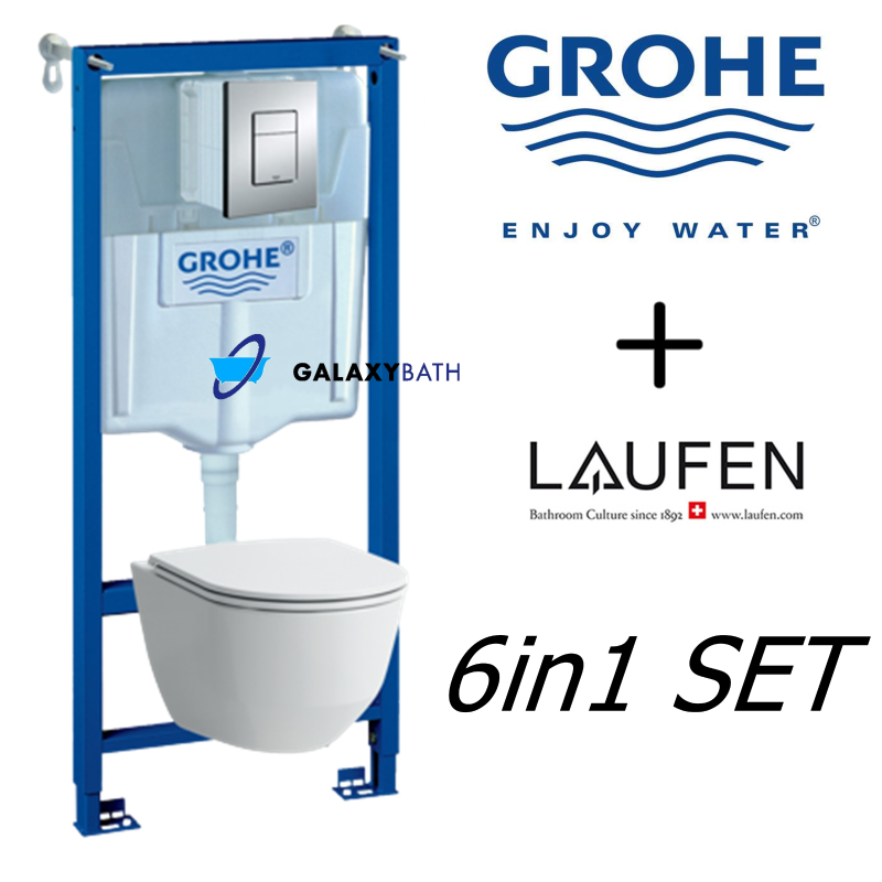 grohe wc frame laufen pro rimless wall hung toilet pan with soft. Black Bedroom Furniture Sets. Home Design Ideas
