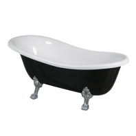 Atena 168 Freestanding Bathtub Black/White Polished Marble