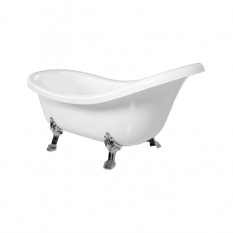 Omnires Atena 174 Freestanding Bathtub White Polished Marble
