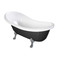 Omnires Atena 174 Freestanding Bathtub Black/White Polished Marble