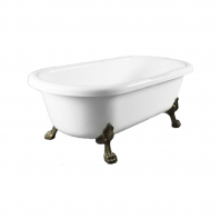 Omnires Atena 175 Freestanding Bathtub White Polished Marble