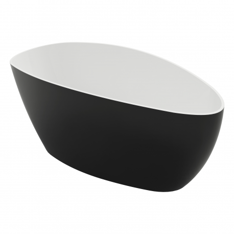Omnires Barcelona 156 Freestanding Bathtub Black/White Polished Marble