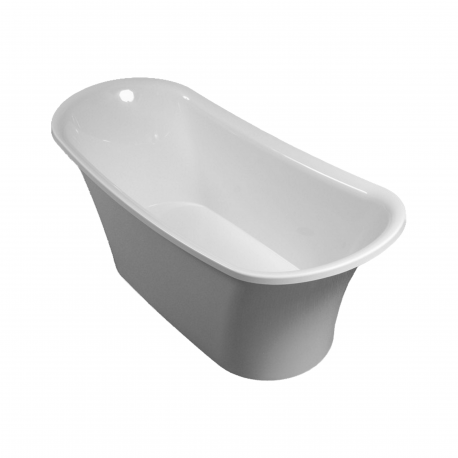 Omnires Lisbona 158 Freestanding Bathtub White Polished Marble